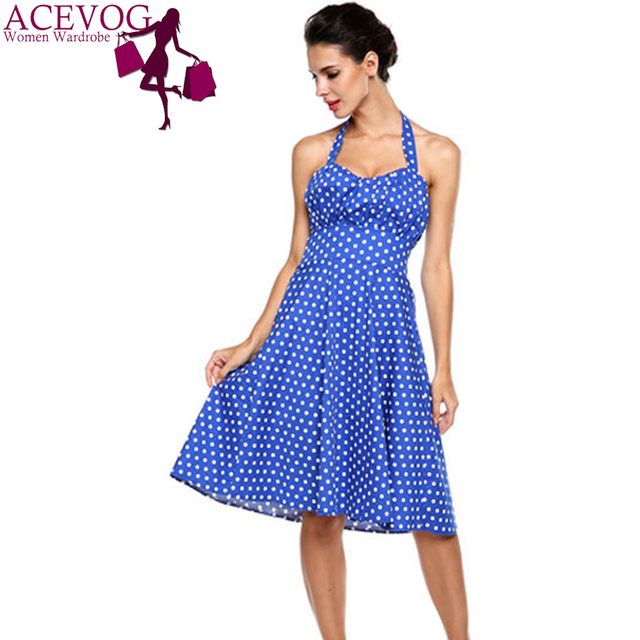 ACEVOG Brand Women Dot Dress Summer Vintage Big Swing Sleeveless Halter  Neck Knee Length Midi Slim Waisted Party Dress Vestidos 93c973c8c