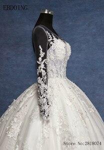 Image 5 - Real foto vestidos de novia vestido de baile vestido de casamento scoop decote manga completa trem real plus size rendas vestidos de noiva