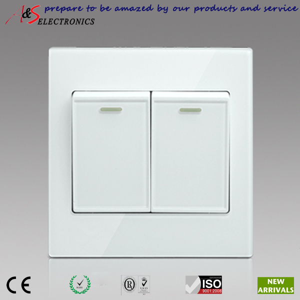 New Design Elegant White Color Home Decoration Classy Glass Wall Plate 2 Gang 1 Way Light Switch