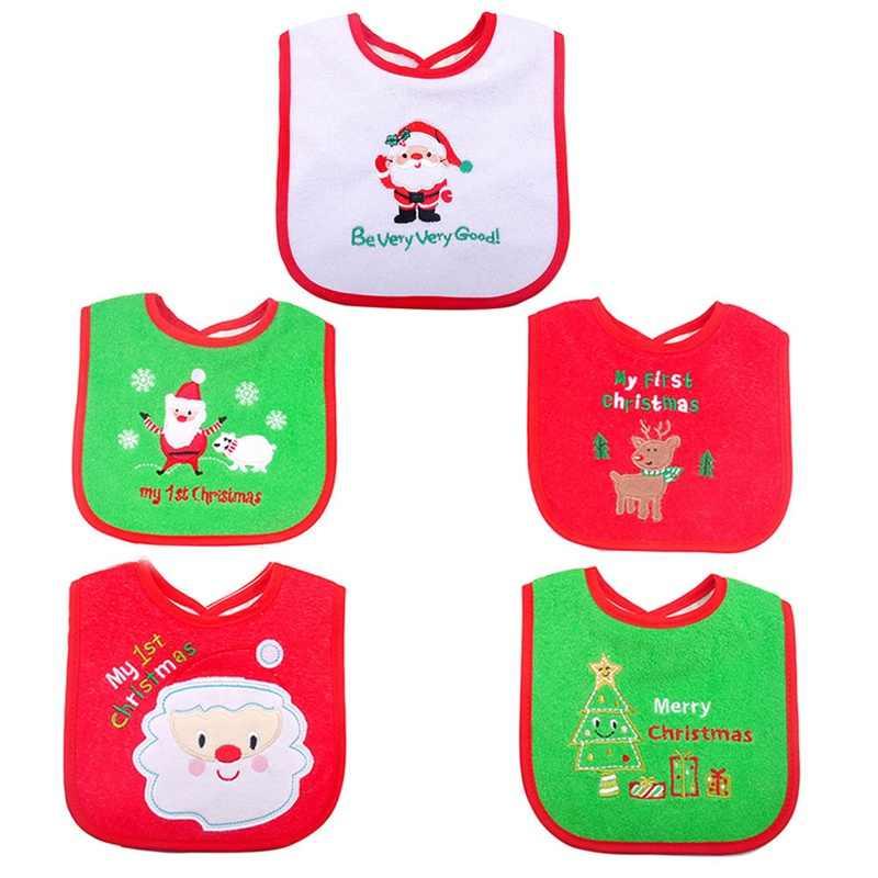 Бандана для малышей нагрудники для новорожденных Санта Клаус Bavoir для малышей слюнявчик медведь полотенце вышитое Babero Рождественский подарок