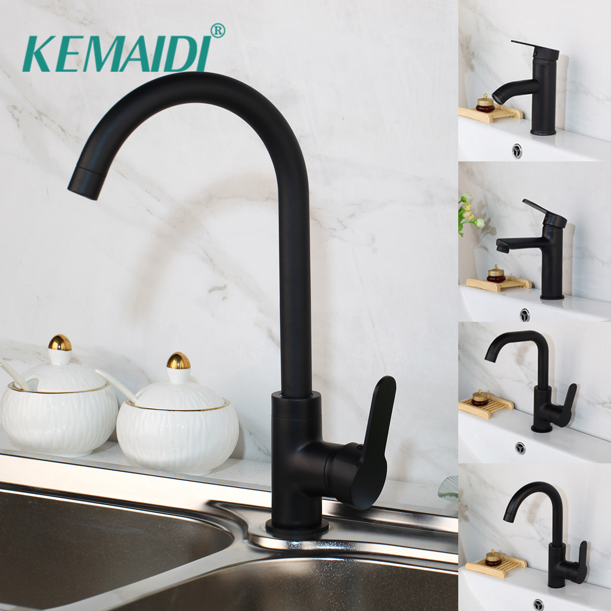 KEMAIDI Basin Faucet Water Tap Bathroom Faucet Solid Orb Nickel Brass Chrome Gold Faucets Sink Tap Mixer