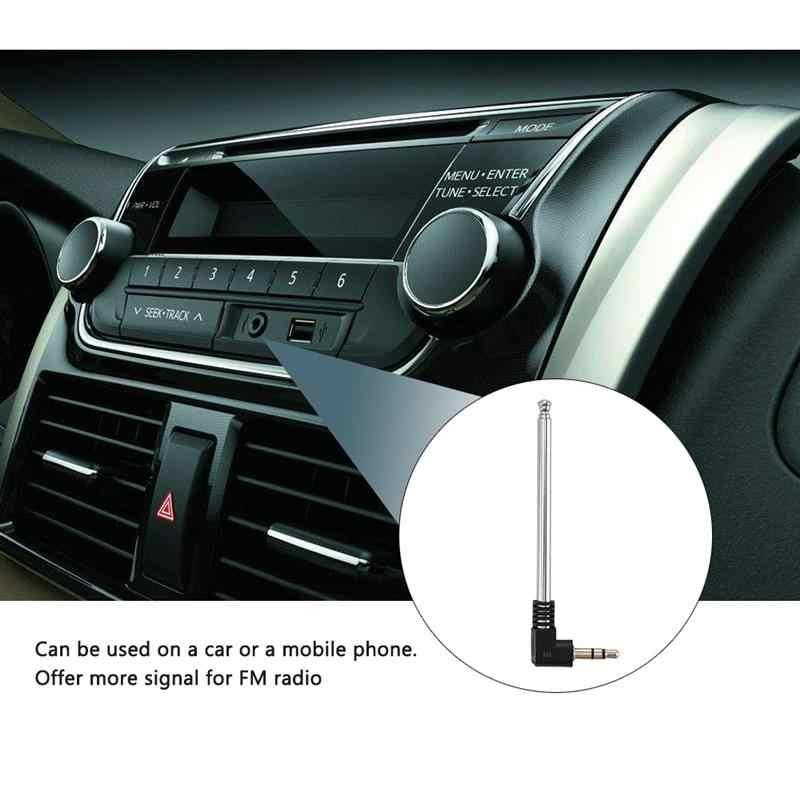 Onever 3,5mm receptor de Radio FM antena retráctil aérea Acero inoxidable Multi-propósito interfaz Radio FM para coche móvil teléfono