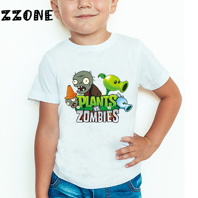 Детская забавная футболка с растениями против зомби, детская мультяшная игровая одежда, повседневные летние топы для маленьких девочек и м...
