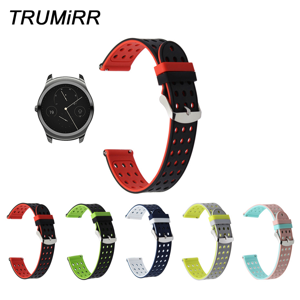20mm Quick Release Silicone Rubber Watchband for Ticwatch 2 42mm Ticwatch E Withings Steel HR 40mm Watch Band Sport Wrist Strap цены онлайн