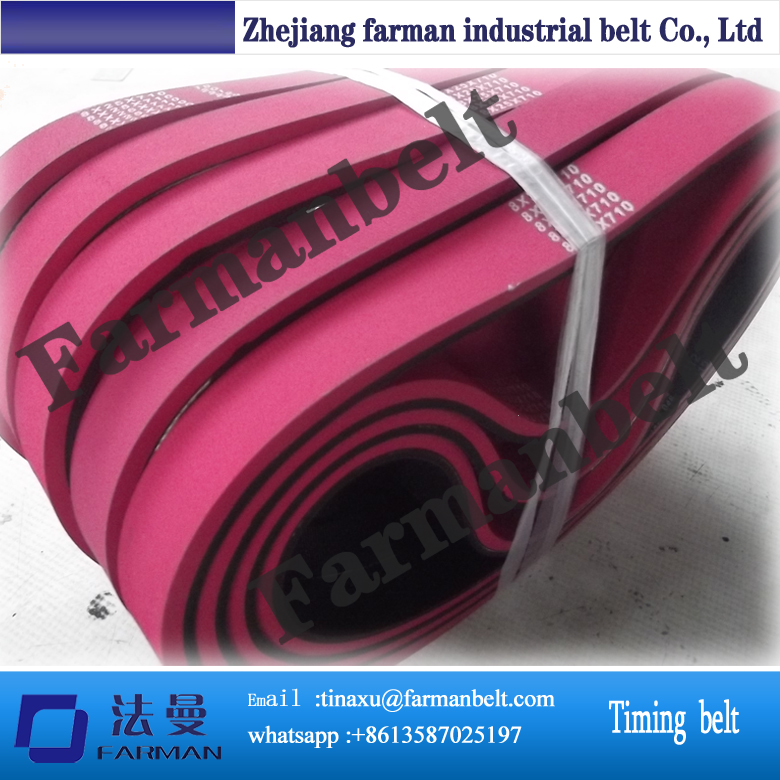 Trade assurance guangdong manufacturer PU T10 timing belt with the red rubber coating t10 steel cord pu timing belt