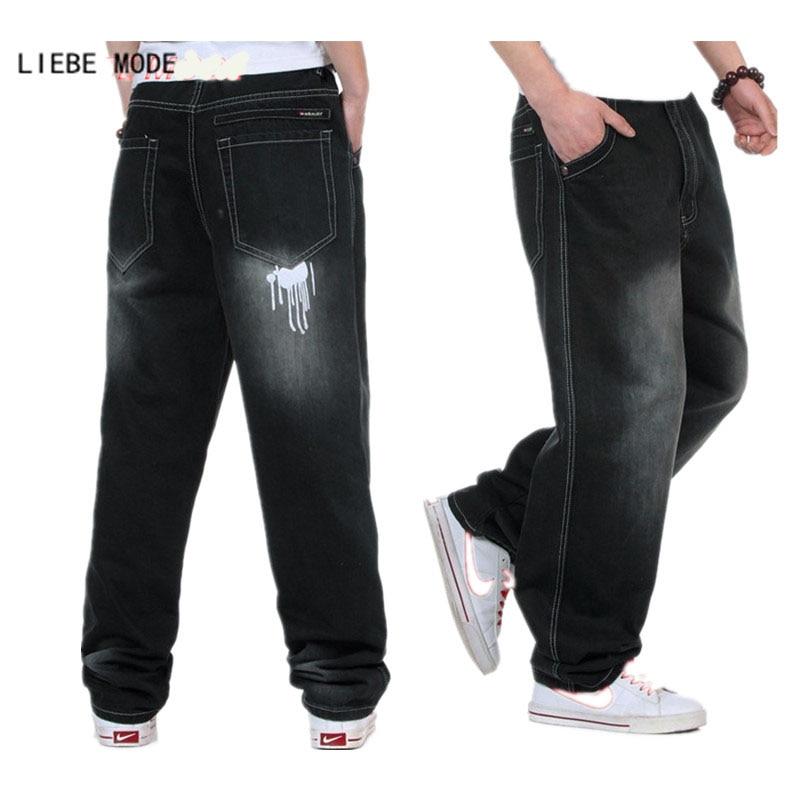 Plus Size Autumn Winter Mens Black Denim Baggy Jeans Men Hip Hop Loose Jeans For Men Cotton Blue Jean Homme 36 38 40 42 44 46