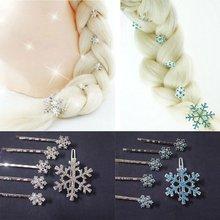 6 pçs/set meninas clipes de cabelo nupcial princesa cristal floco de neve hairpin jóias presente aniversário headwear barrette ornamentado acessórios
