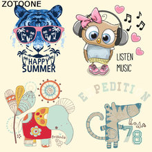ZOTOONE Heat Transfer Patches for Clothing Cue Cartoon Animal Iron Patch DIY Stripes Custom Stickers Applique T-shirt E