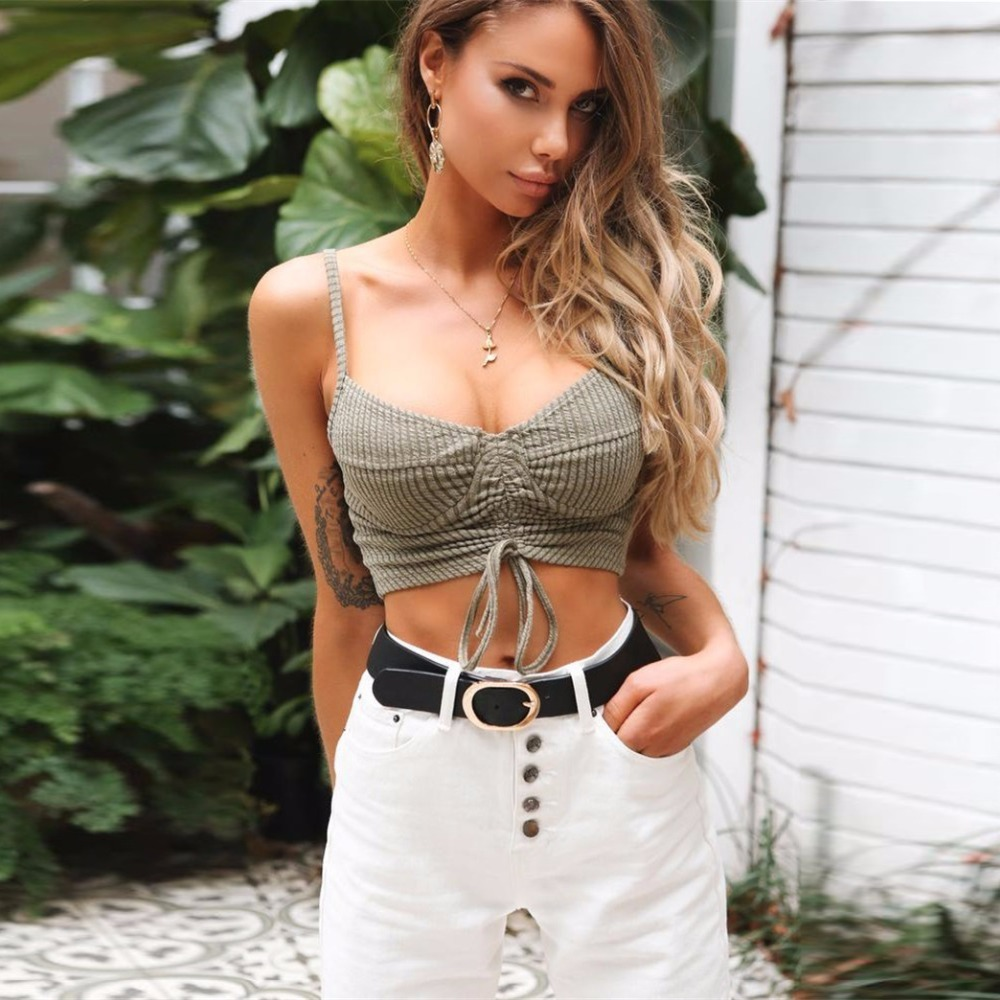 Summer Sexy   Tank     Top   Ribbed Drawstring Ruched Crop   Top   Women Push Up Strap Sleeveless Cotton Solid   Tops   2018 Ladies   Top   Tees