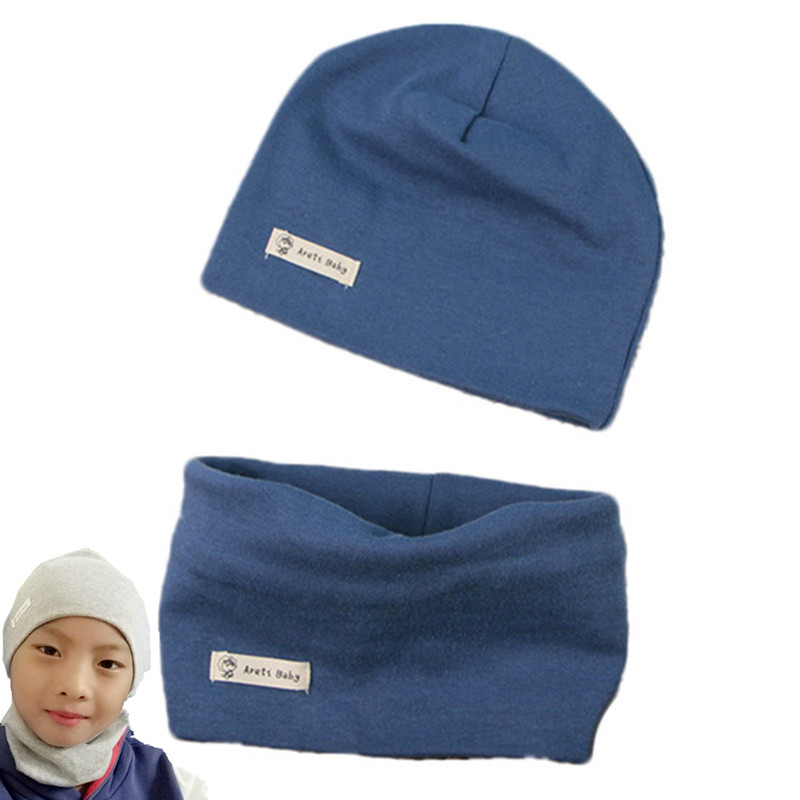Sets Autumn Caps Scarf Hat Beanie-Collar Girls Baby Boys Children with New Solid Lable