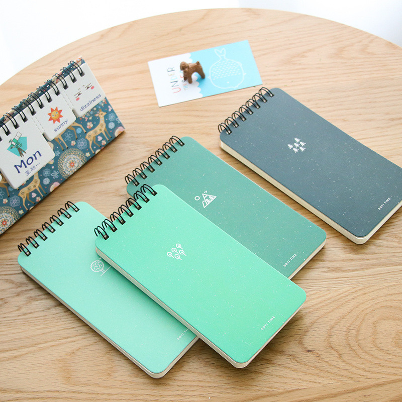 Green notepad Mini coil notebook 80 sheet line paper memo agenda Pocket book Stationery Office accessories School supplies A6853Green notepad Mini coil notebook 80 sheet line paper memo agenda Pocket book Stationery Office accessories School supplies A6853