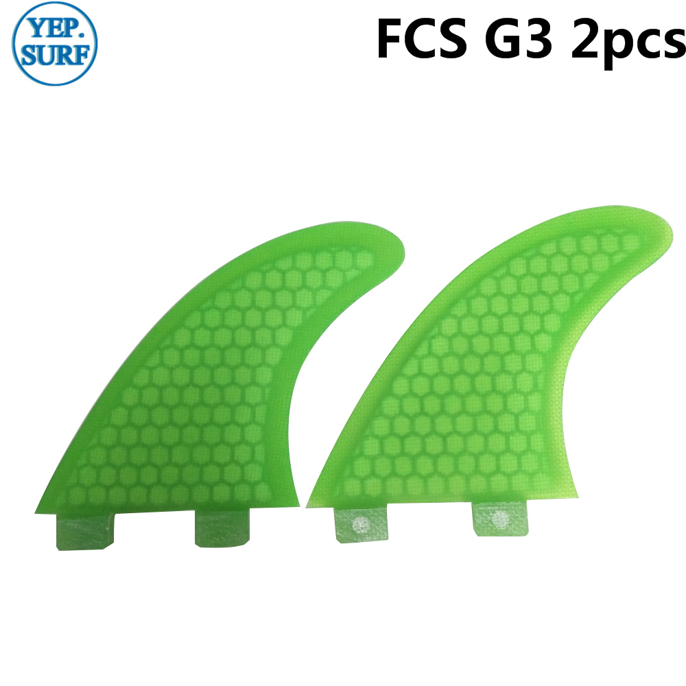FCS Surf Quilhas G3 Fin Green 2pcs Per Set Honeycomb Fins Tri-quad Set SUP Surfboard Fin In Surfing Twin Fin