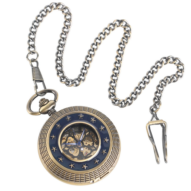 947584e41 Bronze Stars Hollow Hand Winding Mechanical Pocket Watch Pendant Chain  Carving Retro Women Men Fob Watches 2019 Fashion Clock