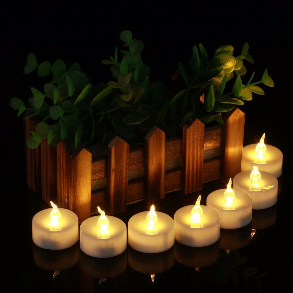 Bougie Led Rechargeable Us 7 31 5 Off Pack Of 12 Mini Warm White Velas Led Decorativas Bougie Led Amber Glow Vela De Led Small Candele Kaarsen With Battery In Candles From