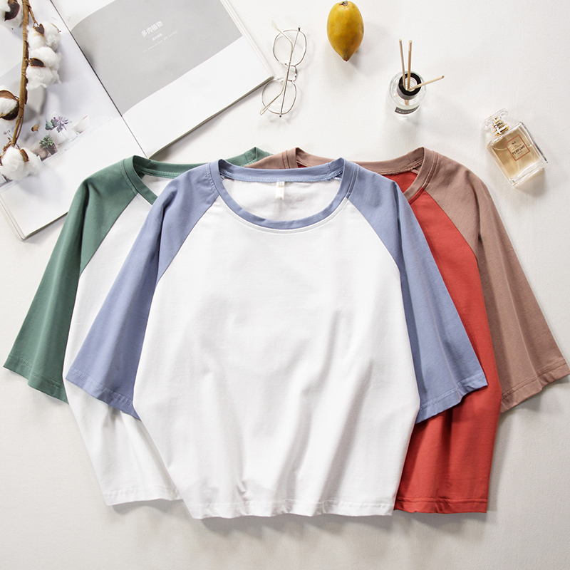 Good Quality Crop Top women Patchwork T Shirt Women Tops Cotton Tees T Shirts Women Cotton Knitted O Neck T Shirt top women in T Shirts from Women 39 s Clothing