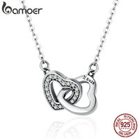 BAMOER Valentine Day Gift 925 Sterling Silver Connected Heart Couple Heart Pendant Necklace For Girlfriend Silver