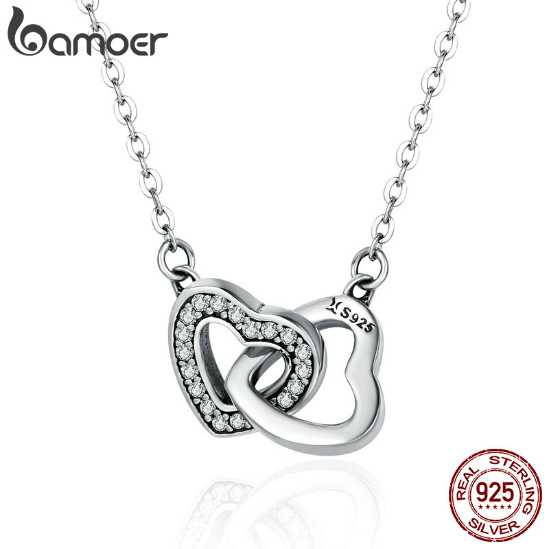 BAMOER Valentine Day Gift 925 Sterling Silver Connected Heart Couple Heart Pendant Necklace for Girlfriend Silver Jewelry SCN181 valentine s day petals heart pattern waterproof table cloth