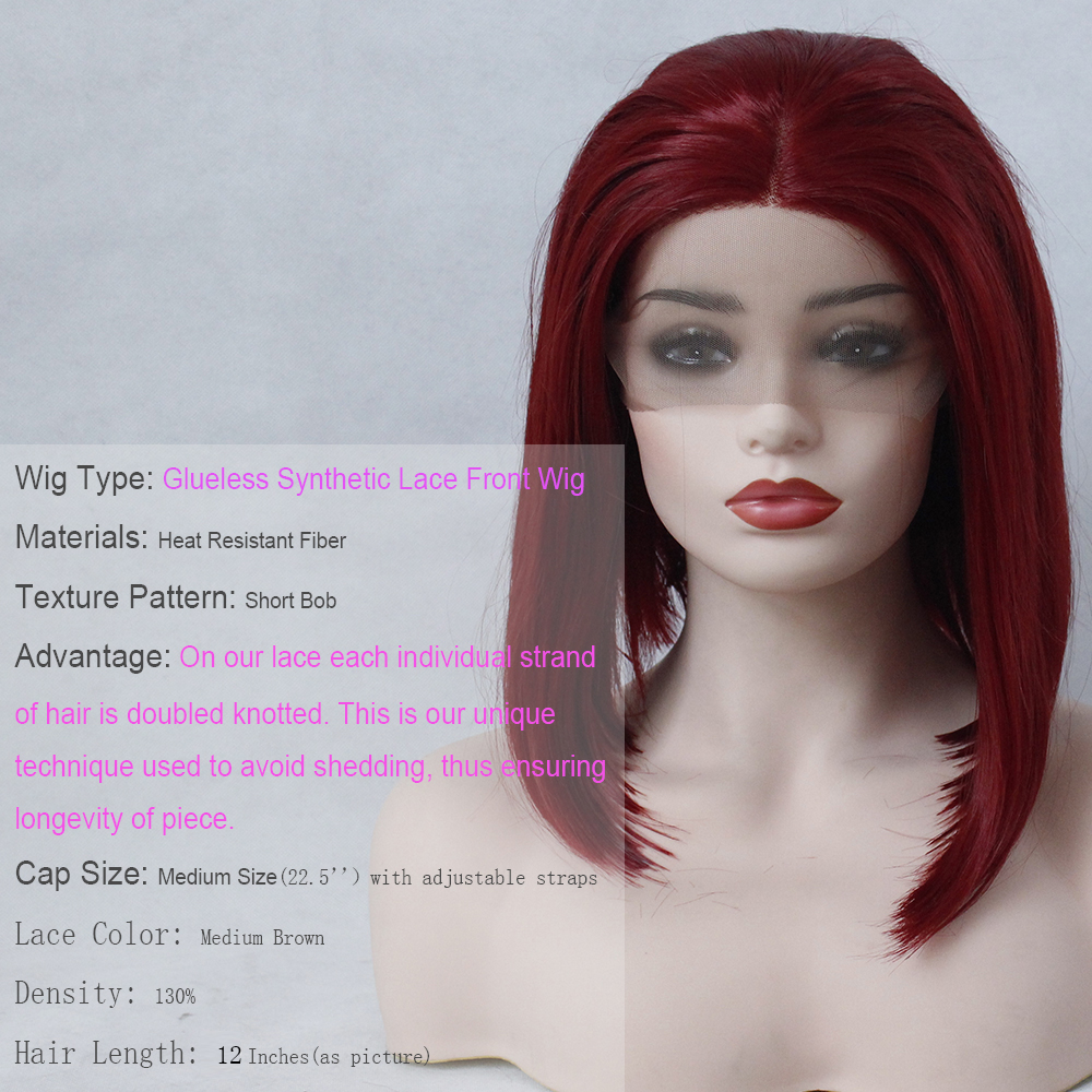 VNICE Wine Red Short BOB Middle Part Wig Hand Tied Hair Heat Resistant High Temperature Synthetic Lace Front Wig for Women