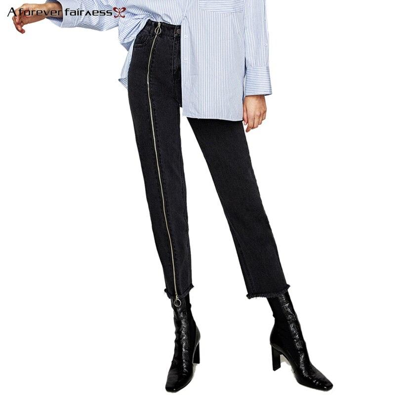 A Forever 2017 Autumn Women Oblique Zipper Black Jeans Fashion Burr Denim High Waist Pencil Pants Slim Elastic Nine Pants M-597 2017 new jeans women spring pants high waist thin slim elastic waist pencil pants fashion denim trousers 3 color plus size