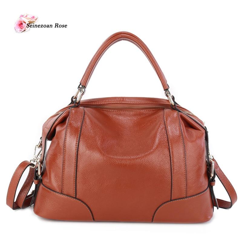 ФОТО Women Genuine Leather Boston Totes Bags Fashion Brand Designer Handbags Ladies Real Leather Shoulder Bag Messenger Bag Bolsos