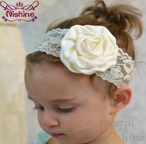 Nishine 1 Piece Kids Girl Lace Rose Flower Headband Wide Band Hairband Soft Elastic Hair Band Headwear