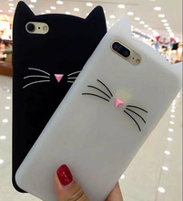 3D Cartoon Soft Silicone Case for Xiaomi Redmi Note 3/4/4X Smile Black Cat Ears Beard Rubber Cover for Redmi 4A Cute Phone Cases