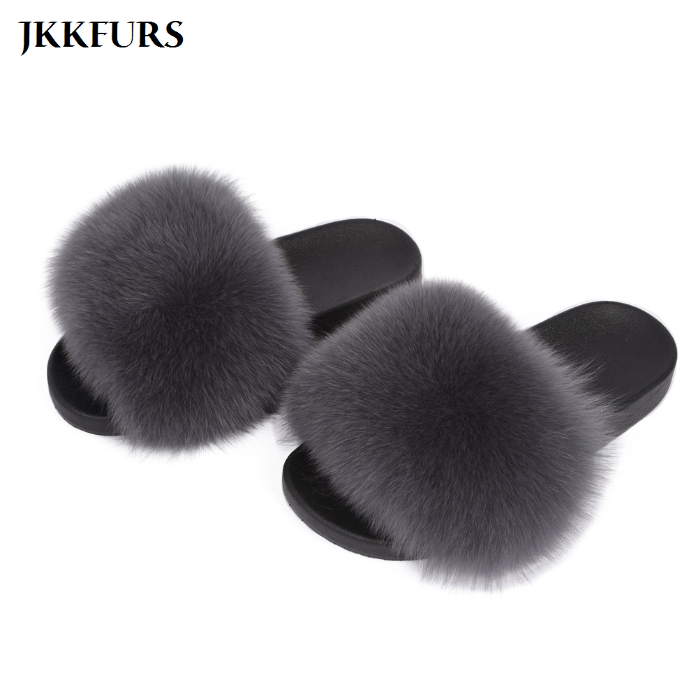 Real Fox Fur Slippers Women Luxury Furry Slides Indoor Big Fluffy Fur Sliders Fashion Style S6018(China)