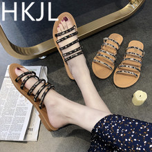 HKJL Slipper female summer fashion outside wear 2019 new anti-skid student flip-flop flat bottom water drill sandals A268