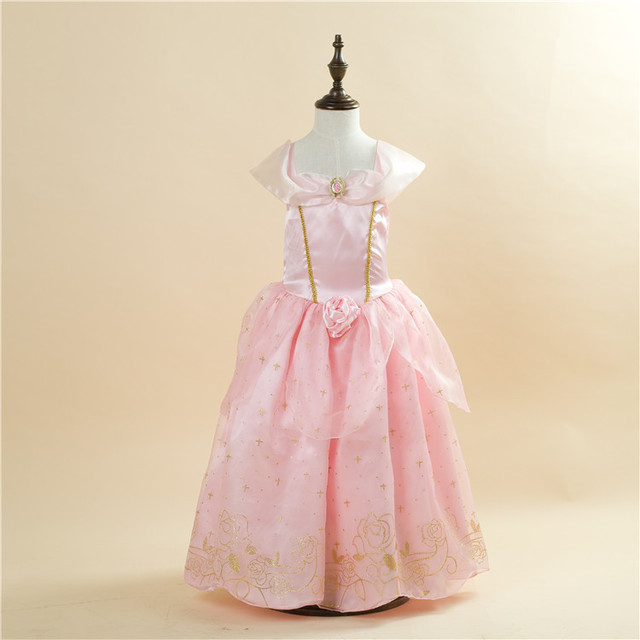Free Shipping Retail 1pc 2015 New Girls Movie Cosplay Costume Fairy Cinderella Princess Dress Fancy Bows Party Dresses 1503 Pink