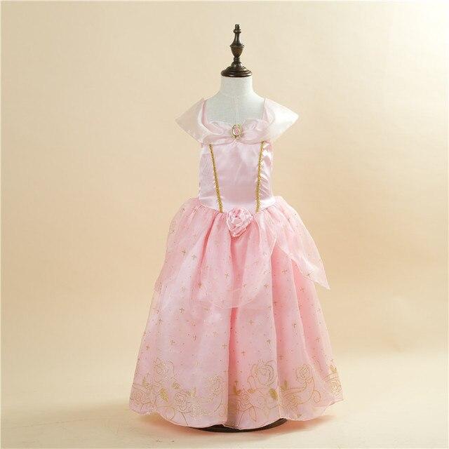 O Envio gratuito de Varejo 1 pc 2015 Nova Meninas Cinderella Princess Dress Filme Cosplay Fantasia de Fada Fantasia Arcos Vestidos de Festa 1503 rosa