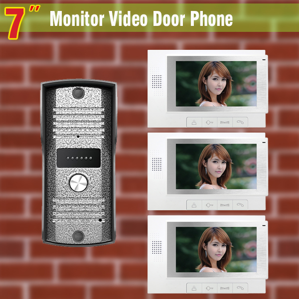 7 video door phone intercom system Video DoorBell Door bell Kit night vision alloy pinhole Camera 3-Monitor for Home villa