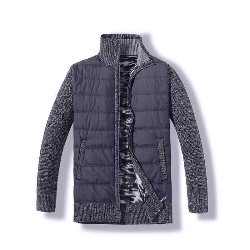 2019 осенне-зимнее Мужское пальто-свитер из искусственного меха, шерстяной свитер, куртки для мужчин на молнии, вязаное толстое пальто, Повседневный трикотаж, плюс бархат