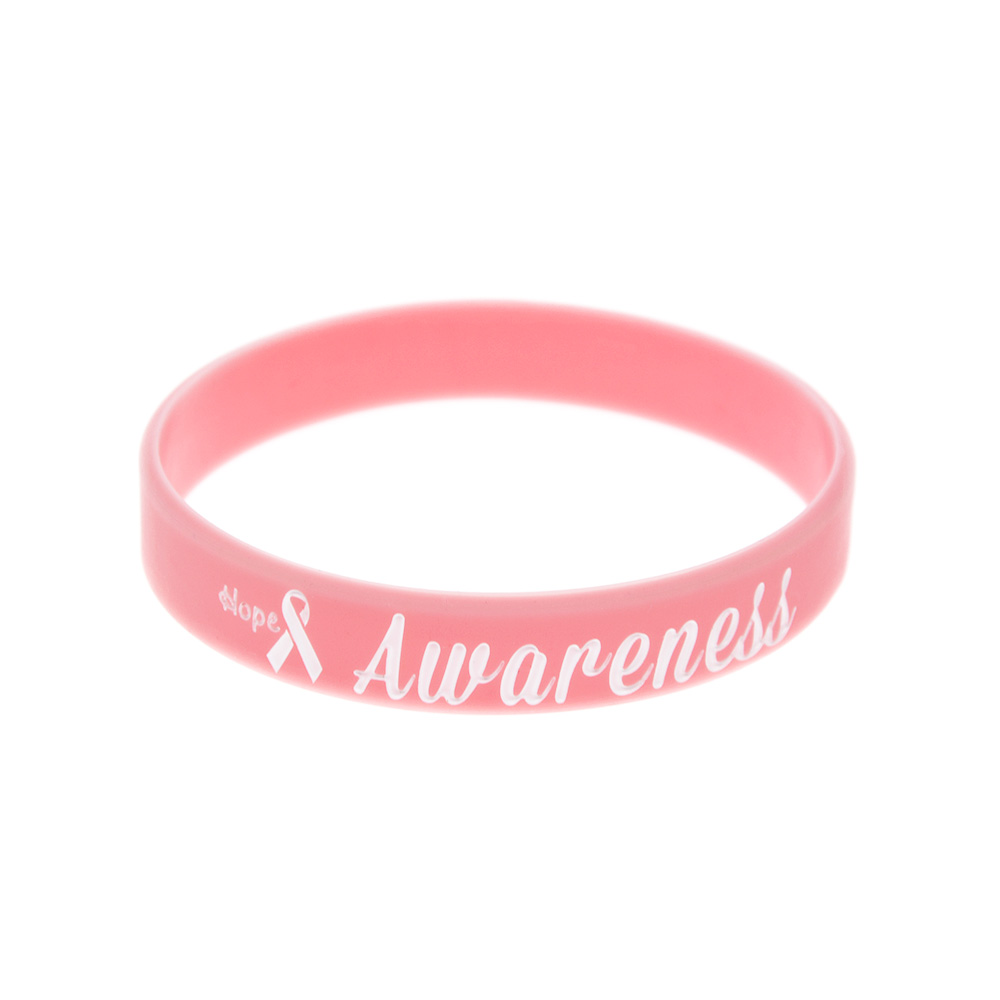 Image 2 - OneBandaHouse 50PCS/Lot Motivation Bracelet Hope Ribbon Breast Cancer Awareness Silicone Wristband Pink Fashion Arm Band-in ID Bracelets from Jewelry & Accessories
