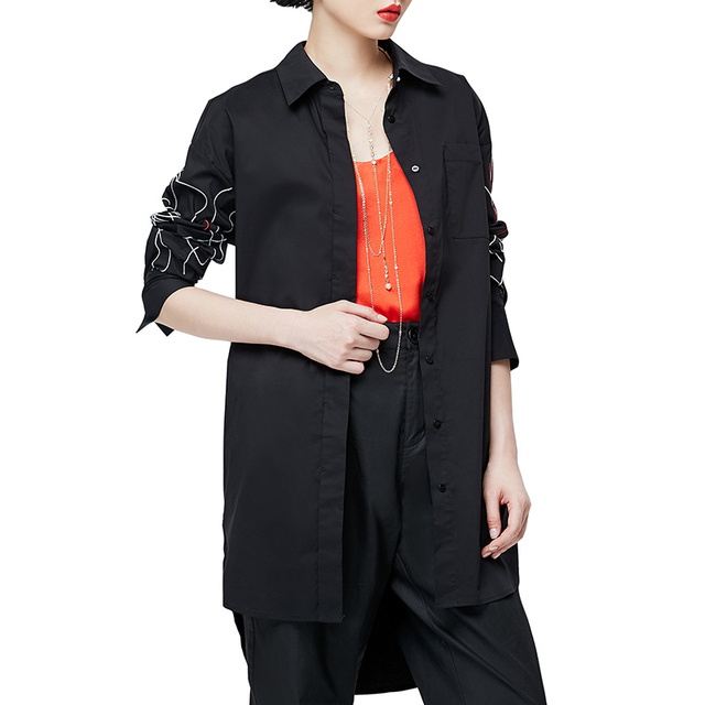 Asymmetrical Striped Embroidery Blouse Loose Women Printed Lapel 1