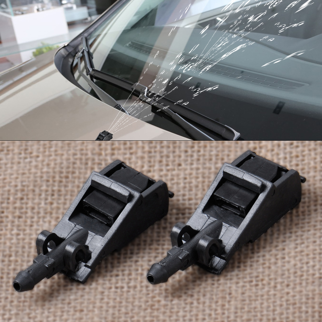 beler 2pcs Black Windscreen Washer Nozzle Jet Water Spray Nozzle For <font><b>VW</b></font> Beetle <font><b>Golf</b></font> Jetta Passat Touareg Rabbit <font><b>GTI</b></font> 6E0955985B image