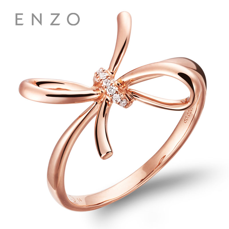 ENZO Fascinating of Milano Collections 0.02CT 7PC Diamond Bow shape Rings 18K Rose Gold Rings For Womens wedding ring ...
