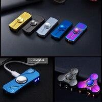 Fidget Spinner 2 In 1 Electronic USB Charging Finger Hand Spinner Tops Metal Tri-Spinner For Adult Best Gift Spinning Toy