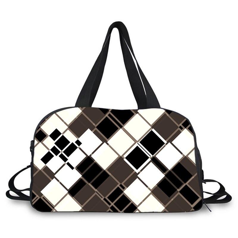 Черно белая клетчатая Танцевальная сумка, дорожная сумка Органайзер, большая спортивная сумка для выходных, спортивная сумка для переноски