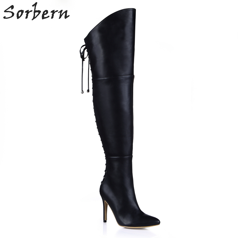 Sorbern Black Knee High Boots Women Shoes For Spring Ladies High Heels Bowtie Decorations Big Size Girls Shoes Custom Color