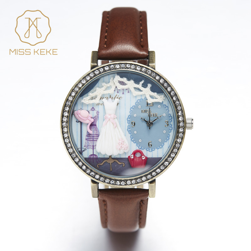 Miss Keke 3d Clay Cute Mini World Dress Women Rhinestone Watches Vintage Retro Ladies Quartz Leather Wristwatches 1039 miss keke women watches 2017 clay 3d mini cute world city young pretty girl kids children watch pink pu strap wristwatches