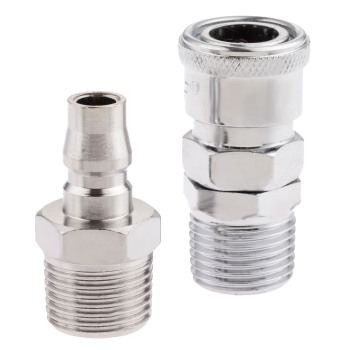 цена на 2Pc Iron Pneumatic Euro Air Line Hose Compressor Connector Quick Release 1/2 BSP Male Thread Coupler Fittings SM40 PM40