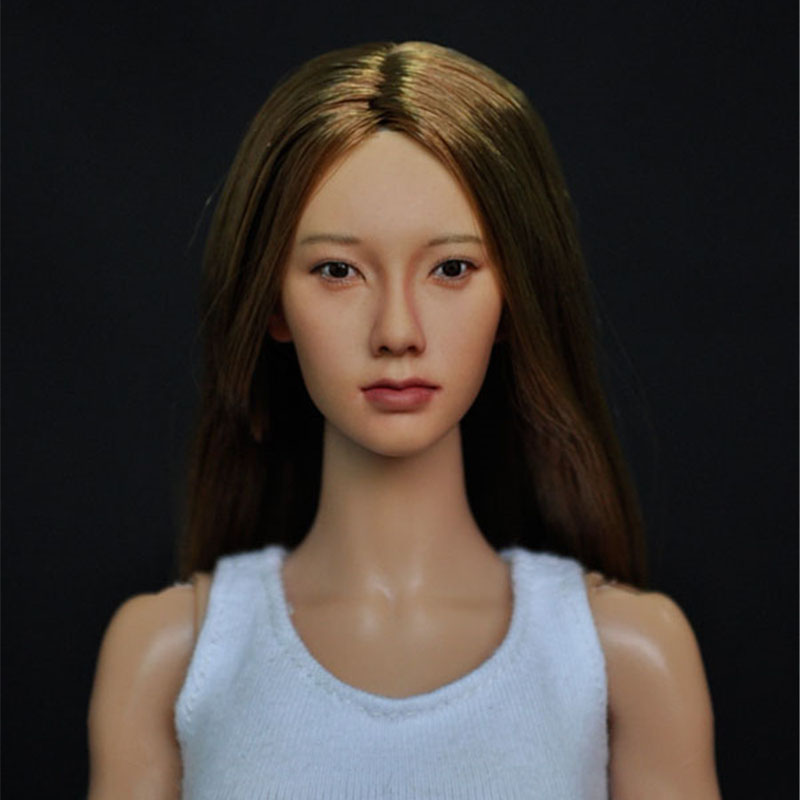 Mnotht 1/6 Female Asian Head With Brown Hair Carving Head For 12in 1:6 Women Solider Glue Body l25 top habbies super duck carving 1 6 sdh001 a b asian girl head sculpt black brown hair for female phichen jiaodoll body figure