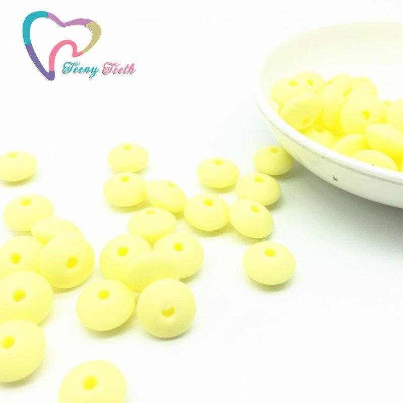 Teeny Teeth 50PCS Lentil Shape Food Grade Silicone 12 MM Loose Beads Baby Teething Chewing Dental Nursing Beads For DIY Jewelry