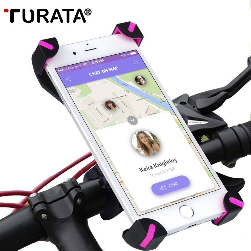 TURATA 360 Giratoria Soporte para Teléfono de Bicicletas Bike Manillar Clip Sopo