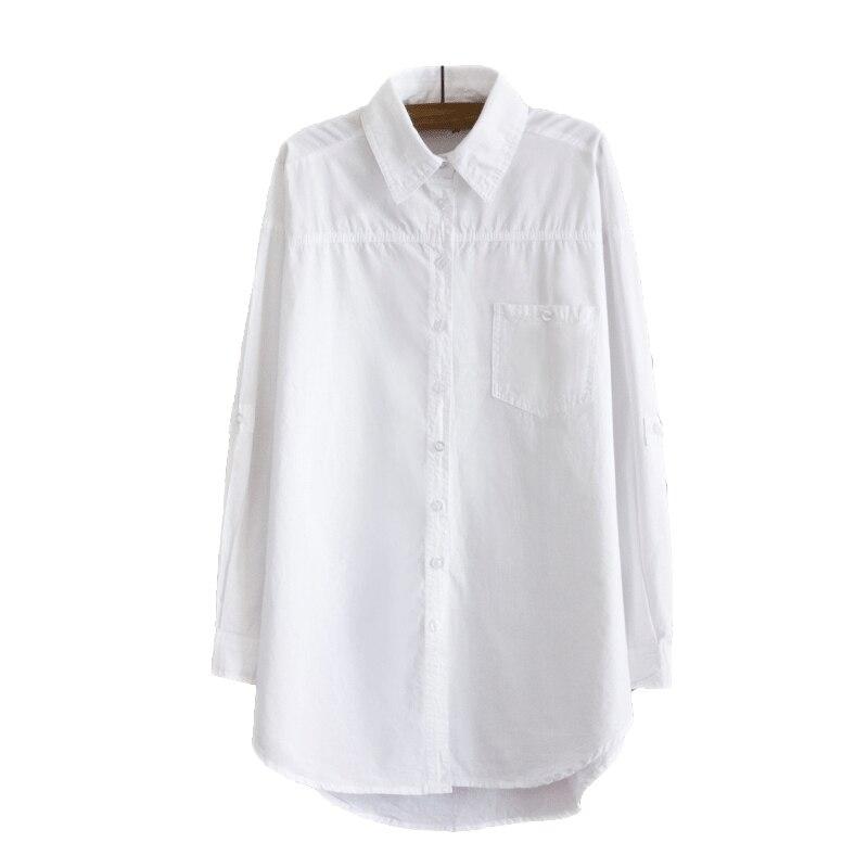 Elegante Lange Bluse Weißes Hemd Frauen Damen Büro 100% baumwolle Shirts Casual Baumwolle Bluse Mode Blusas Femininas 0,24