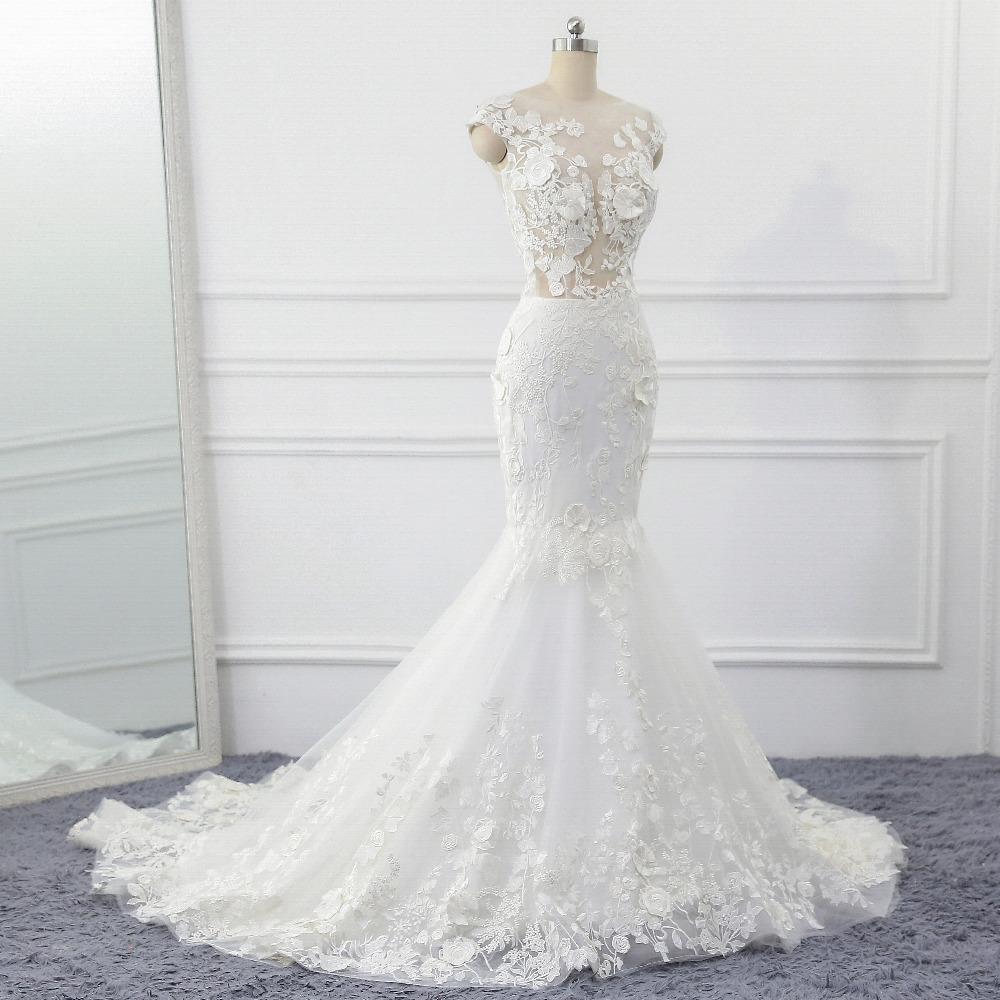 Lover Kiss Wedding Dress 2017 Vintage Mermaid Lace Appliques Bead Robe de Mariage Sexy Back Bride Dresses Vestido de Noiva 3