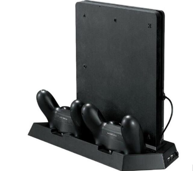 Vertical Game Console Stand with Cooling Fan Dual Gaming Controller Gamepad Charging Station Holder for PS4 Slim Console