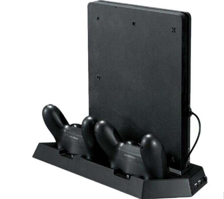 Vertical Game accessories Console Stand with Cooling Fan Dual Controller Gamepad Charging Station Holder for PS4 Slim Console