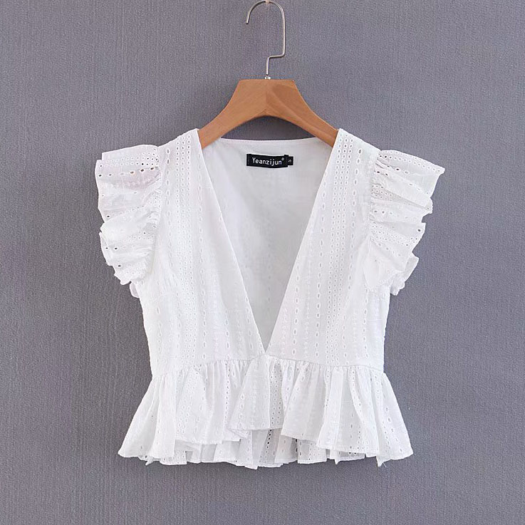 women sexy deep v neck hollow out casual smock white lace   blouse     shirt   women pleated ruffles blusas chic femininas tops