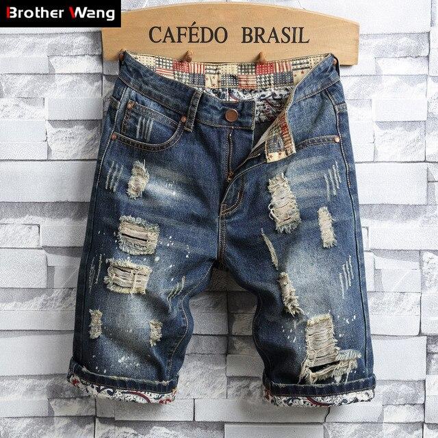 Pantalones cortos de mezclilla con agujeros para hombre, novedad de verano 2020, pantalones vaqueros cortos Retro rasgados ajustados a la moda, de marca para hombre